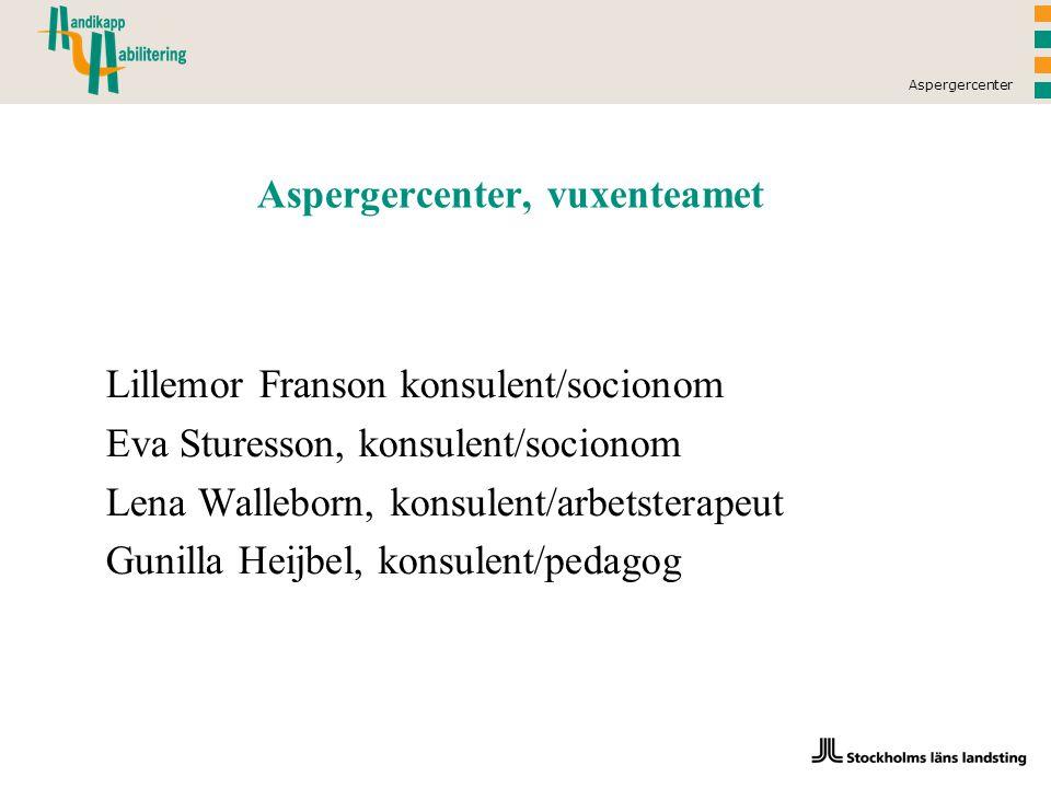 Aspergercenter Aspergercenter, vuxenteamet Lillemor Franson konsulent/socionom Eva Sturesson, konsulent/socionom Lena Walleborn, konsulent/arbetsterapeut Gunilla Heijbel, konsulent/pedagog