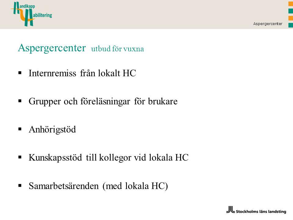 Aspergercenter Aspergercenter utbud för vuxna  Internremiss från lokalt HC  Grupper och föreläsningar för brukare  Anhörigstöd  Kunskapsstöd till kollegor vid lokala HC  Samarbetsärenden (med lokala HC)