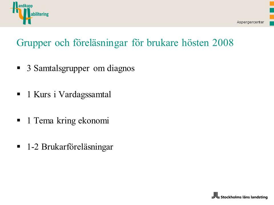 Aspergercenter Grupper och föreläsningar för brukare hösten 2008  3 Samtalsgrupper om diagnos  1 Kurs i Vardagssamtal  1 Tema kring ekonomi  1-2 Brukarföreläsningar