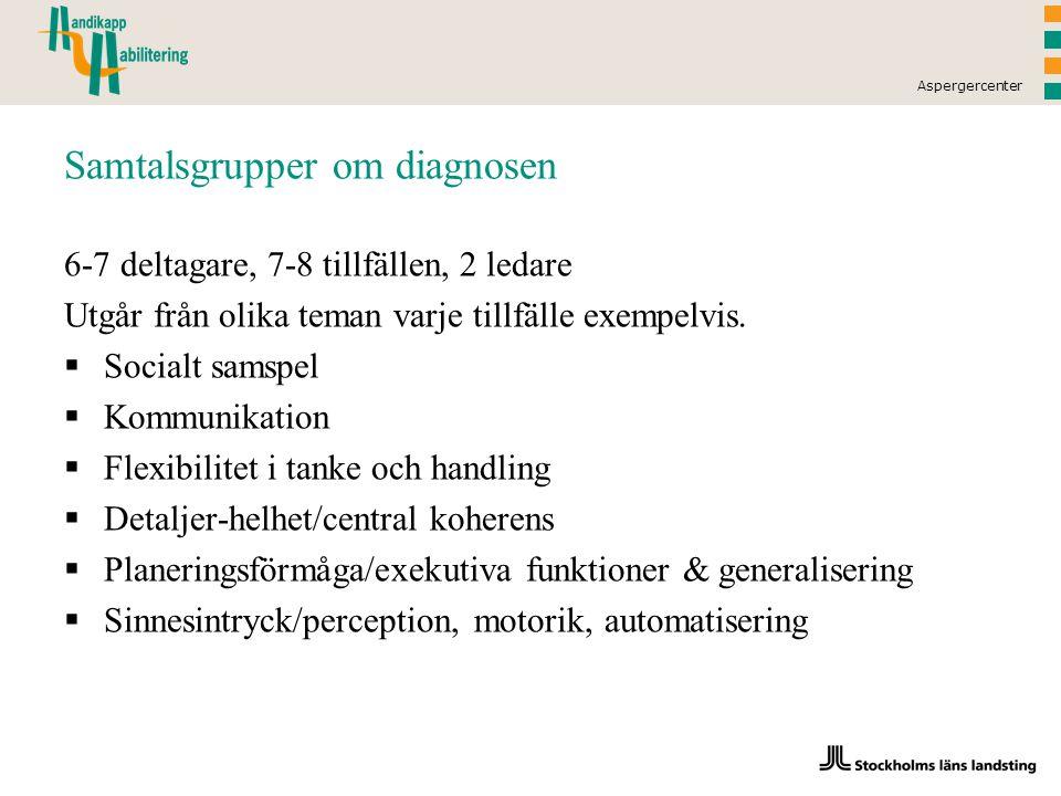 Aspergercenter Samtalsgrupper om diagnosen 6-7 deltagare, 7-8 tillfällen, 2 ledare Utgår från olika teman varje tillfälle exempelvis.