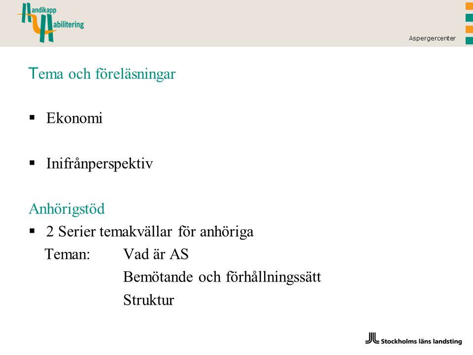 Aspergercenter T ema och föreläsningar  Ekonomi  Inifrånperspektiv Anhörigstöd  2 Serier temakvällar för anhöriga Teman: Vad är AS Bemötande och förhållningssätt Struktur