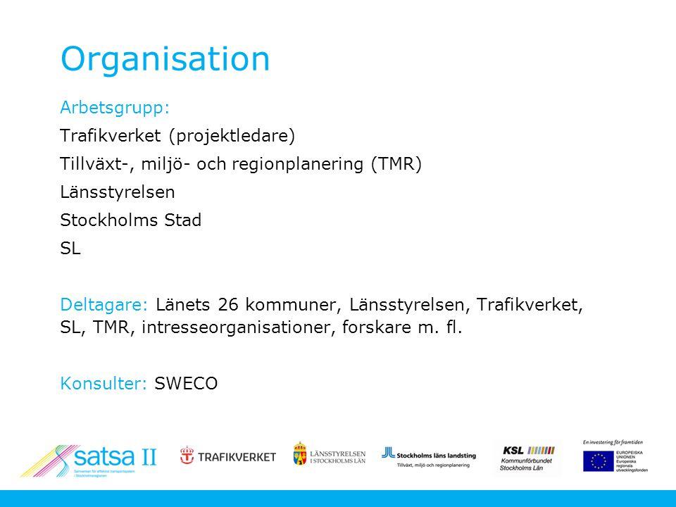 Organisation Arbetsgrupp: Trafikverket (projektledare) Tillväxt-, miljö- och regionplanering (TMR) Länsstyrelsen Stockholms Stad SL Deltagare: Länets 26 kommuner, Länsstyrelsen, Trafikverket, SL, TMR, intresseorganisationer, forskare m.