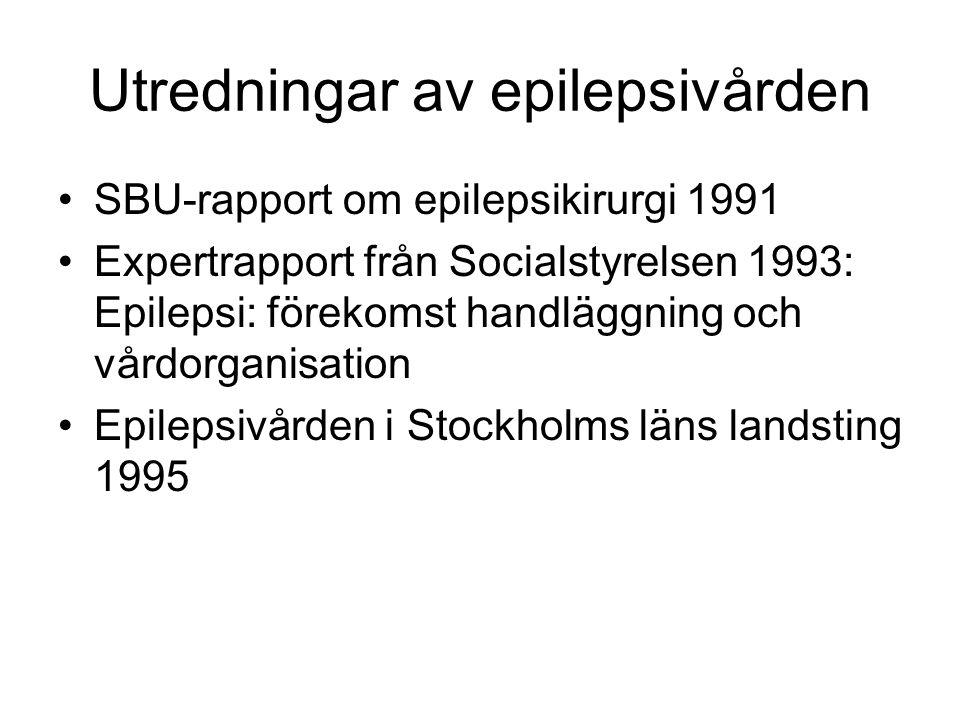 Utredningar av epilepsivården SBU-rapport om epilepsikirurgi 1991 Expertrapport från Socialstyrelsen 1993: Epilepsi: förekomst handläggning och vårdor