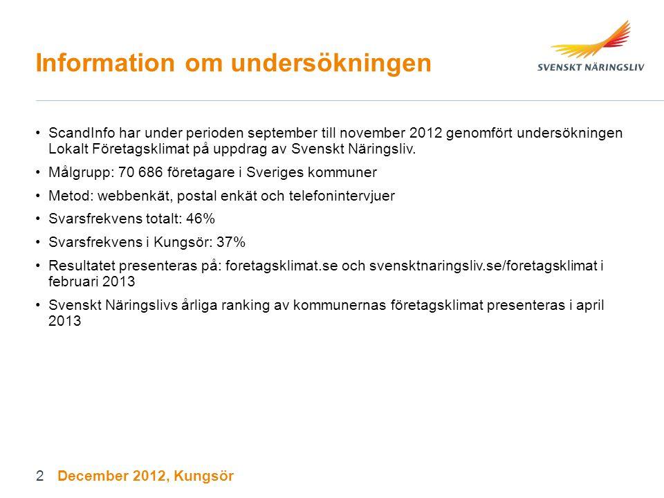 3 Bakgrundsinformation om deltagande företag (Procent) December 2012, Kungsör
