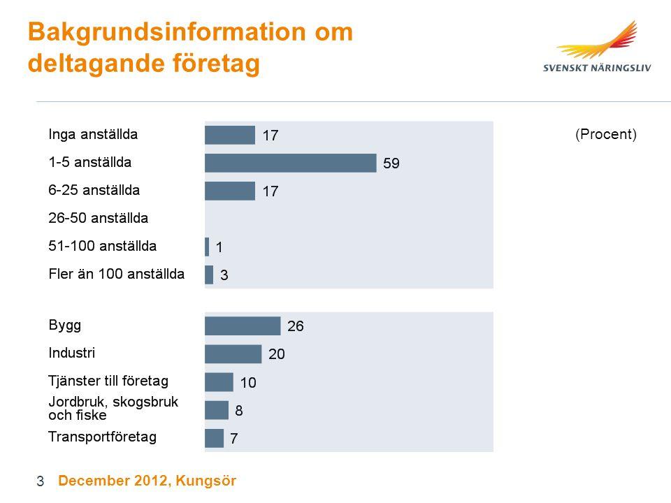 Bakgrundsinformation om deltagande företagare (Procent) December 2012, Kungsör 4