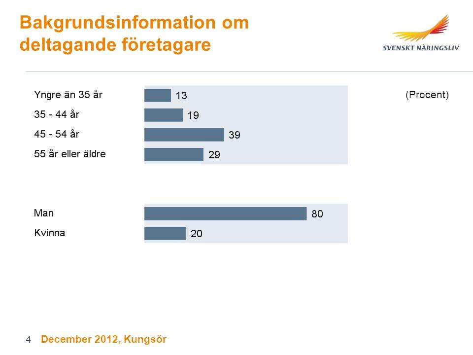 Sammanfattande omdöme om företagsklimatet i Sverige December 2012, Kungsör 25