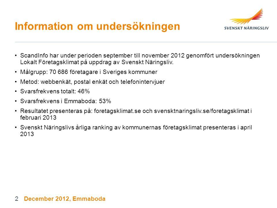 Information om undersökningen ScandInfo har under perioden september till november 2012 genomfört undersökningen Lokalt Företagsklimat på uppdrag av S