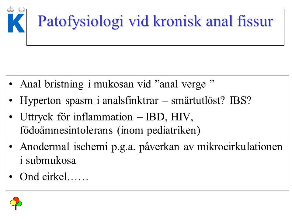 "Patofysiologi vid kronisk anal fissur Anal bristning i mukosan vid ""anal verge "" Hyperton spasm i analsfinktrar – smärtutlöst? IBS? Uttryck för inflam"
