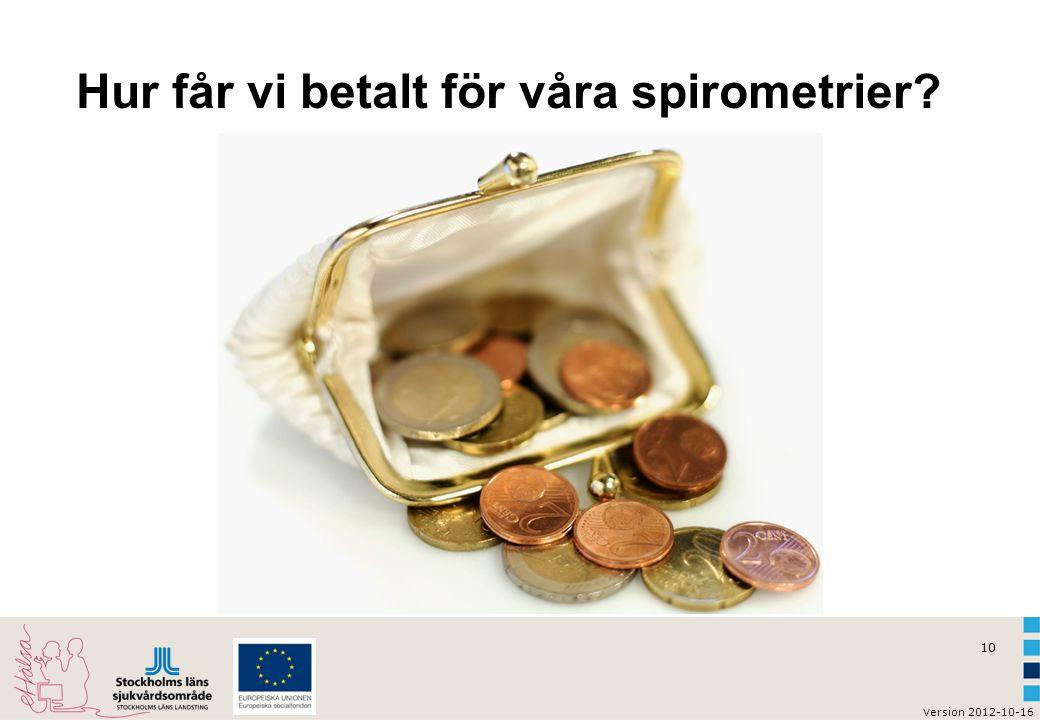 v ersion 2012-10-16 11 Spirometrier enligt KBS 2011 Medel- värde 1,2 6,9 Antal kassaregistrerade spirometrier i förhållande till antal listade patienter över 45 år uttryckt i procent