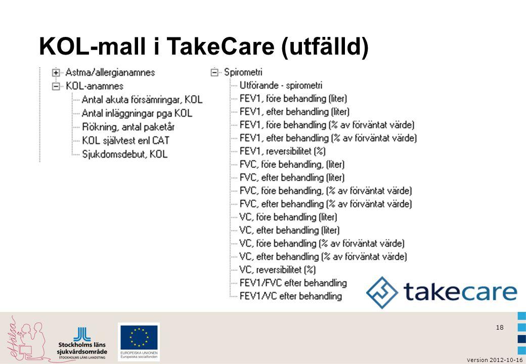 v ersion 2012-10-16 19 KOL-stadier enl sökordet i TakeCare