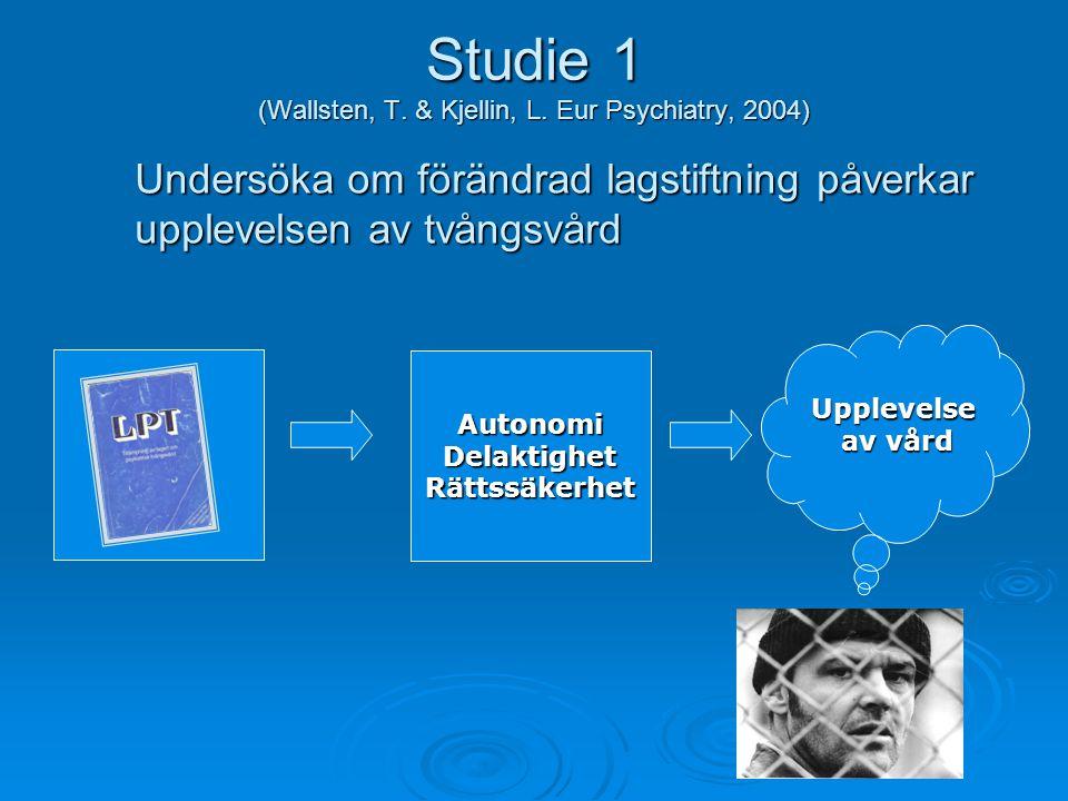 Studie 1 (Wallsten, T. & Kjellin, L. Eur Psychiatry, 2004) AutonomiDelaktighetRättssäkerhet Upplevelse av vård Undersöka om förändrad lagstiftning påv