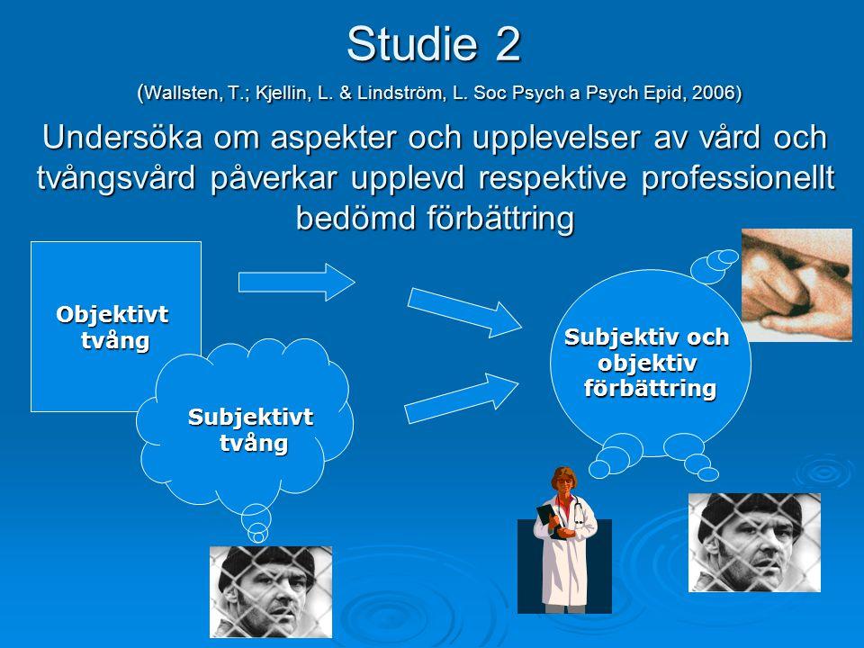 Studie 2 ( Wallsten, T.; Kjellin, L. & Lindström, L. Soc Psych a Psych Epid, 2006) Objektivttvång Subjektivttvång Subjektiv och objektivförbättring Un