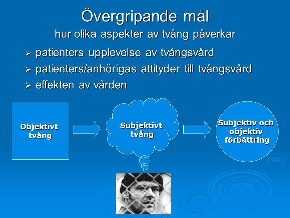 Objektivttvång Subjektivttvång Övergripande mål hur olika aspekter av tvång påverkar  patienters upplevelse av tvångsvård  patienters/anhörigas attityder till tvångsvård  effekten av vården Subjektiv och objektivförbättring