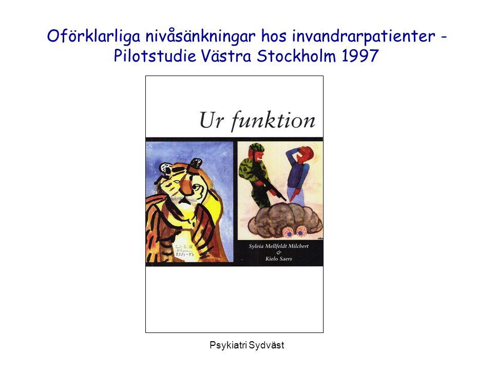 Psykiatri Sydväst Oförklarliga nivåsänkningar hos invandrarpatienter - Pilotstudie Västra Stockholm 1997