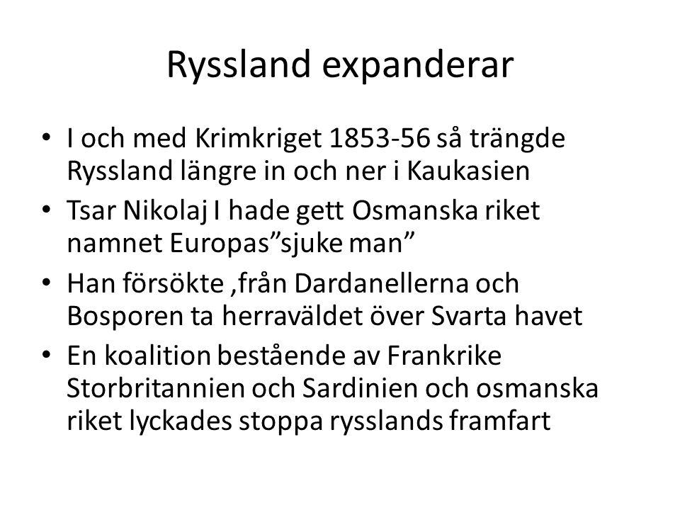 Ryssland expanderar I och med Krimkriget 1853-56 så trängde Ryssland längre in och ner i Kaukasien Tsar Nikolaj I hade gett Osmanska riket namnet Euro