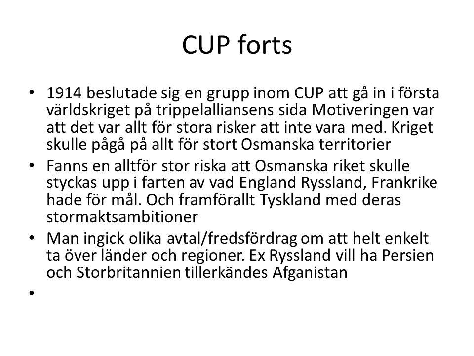 CUP forts 1914 beslutade sig en grupp inom CUP att gå in i första världskriget på trippelalliansens sida Motiveringen var att det var allt för stora r