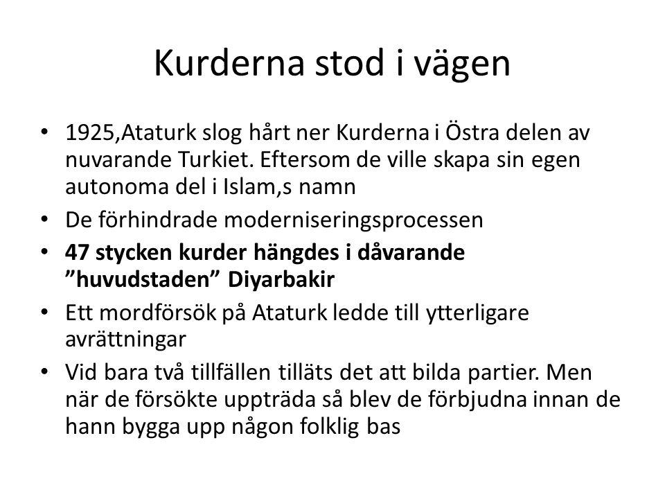 Kurderna stod i vägen 1925,Ataturk slog hårt ner Kurderna i Östra delen av nuvarande Turkiet. Eftersom de ville skapa sin egen autonoma del i Islam,s