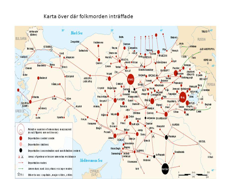 Karta över där folkmorden inträffade