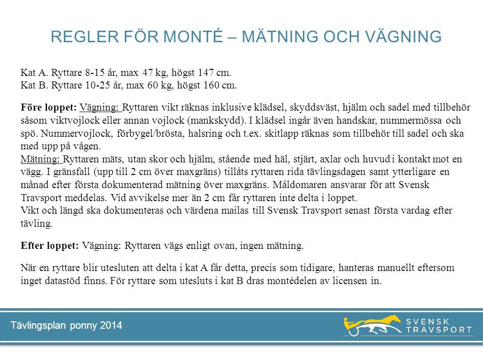 Tävlingsplan ponny 2014 Kat A. Ryttare 8-15 år, max 47 kg, högst 147 cm. Kat B. Ryttare 10-25 år, max 60 kg, högst 160 cm. Före loppet: Vägning: Rytta