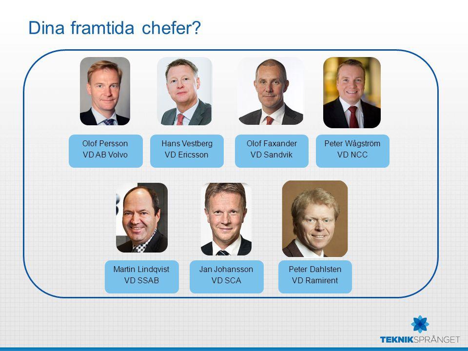 Dina framtida chefer? Olof Persson VD AB Volvo Peter Wågström VD NCC Peter Dahlsten VD Ramirent Olof Faxander VD Sandvik Martin Lindqvist VD SSAB Jan