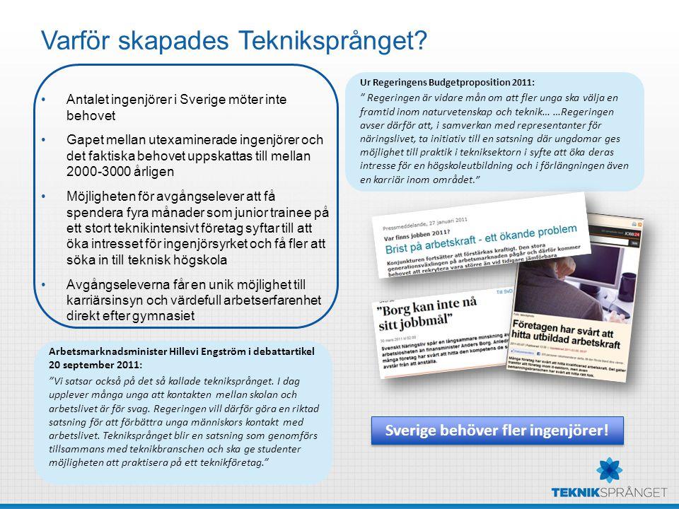 Varför skapades Tekniksprånget? Antalet ingenjörer i Sverige möter inte behovet Gapet mellan utexaminerade ingenjörer och det faktiska behovet uppskat