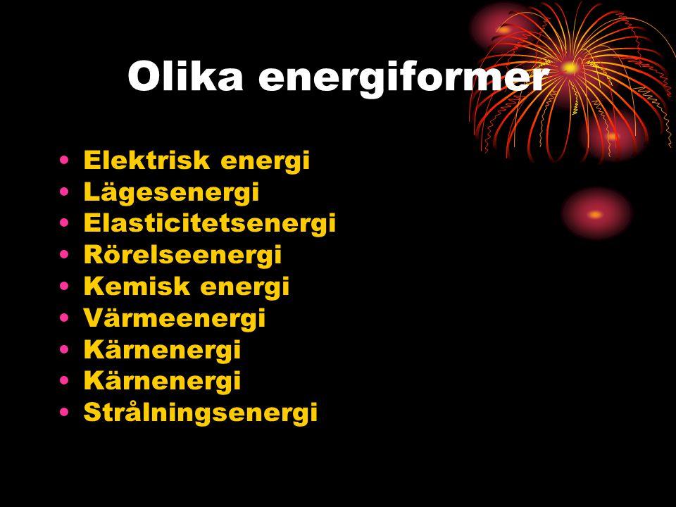Olika energiformer Elektrisk energi Lägesenergi Elasticitetsenergi Rörelseenergi Kemisk energi Värmeenergi Kärnenergi Strålningsenergi