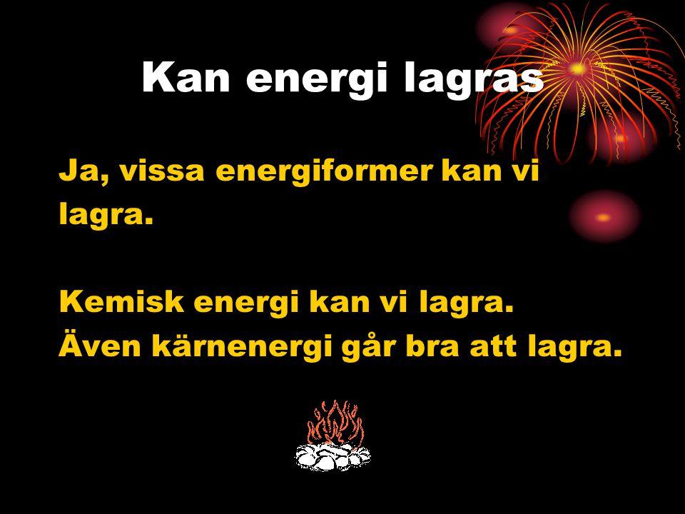 Kan energi lagras Ja, vissa energiformer kan vi lagra. Kemisk energi kan vi lagra. Även kärnenergi går bra att lagra.