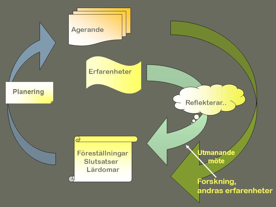 Forskning, andras erfarenheter Föreställningar Slutsatser Lärdomar Agerande Erfarenheter Reflekterar.. Erfarenhetslärandet Planering Utmanande möte