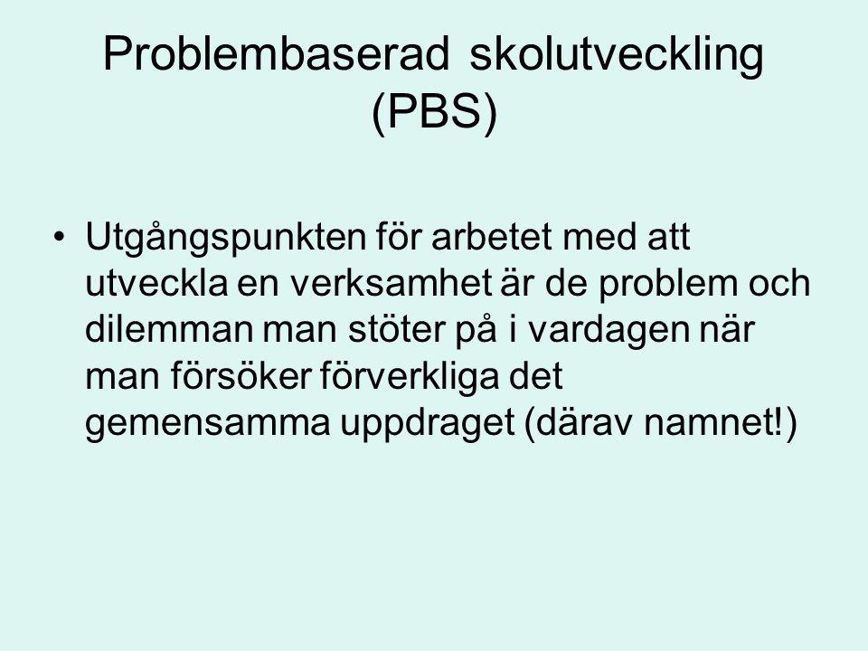 Problembaserad skolutveckling (PBS) Utgångspunkten för arbetet med att utveckla en verksamhet är de problem och dilemman man stöter på i vardagen när