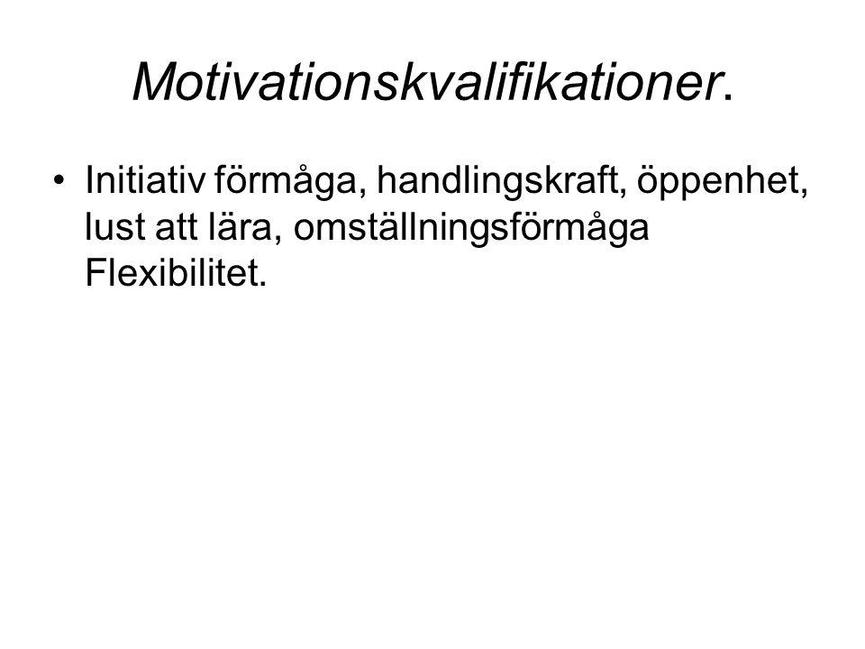 Motivationskvalifikationer. Initiativ förmåga, handlingskraft, öppenhet, lust att lära, omställningsförmåga Flexibilitet.