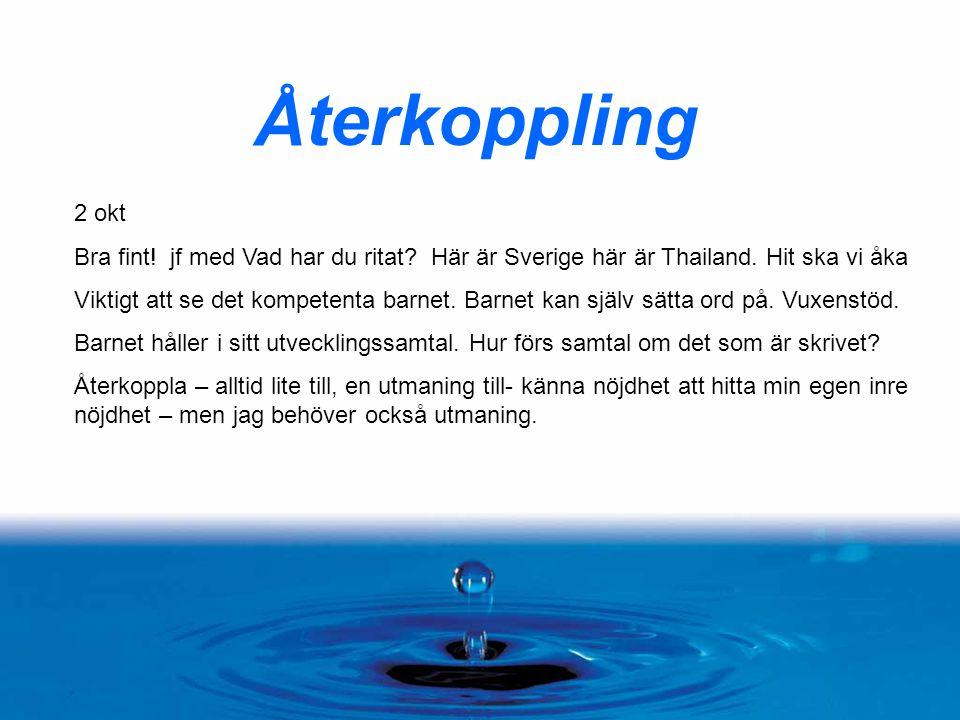 Återkoppling 2 okt Bra fint! jf med Vad har du ritat? Här är Sverige här är Thailand. Hit ska vi åka Viktigt att se det kompetenta barnet. Barnet kan