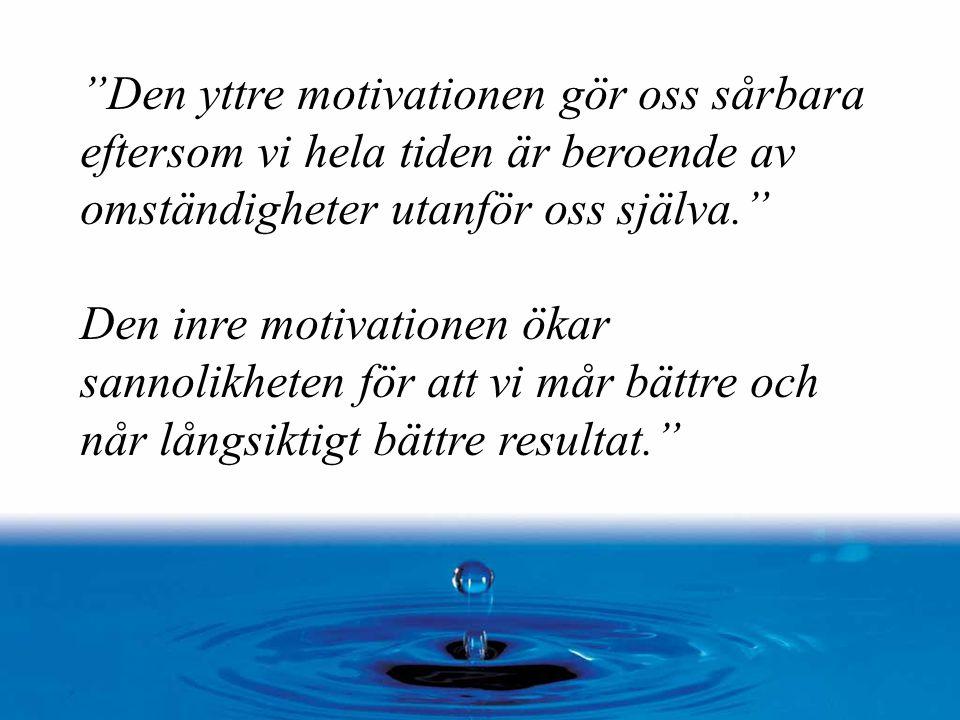 """""""Den yttre motivationen gör oss sårbara eftersom vi hela tiden är beroende av omständigheter utanför oss själva."""" Den inre motivationen ökar sannolikh"""