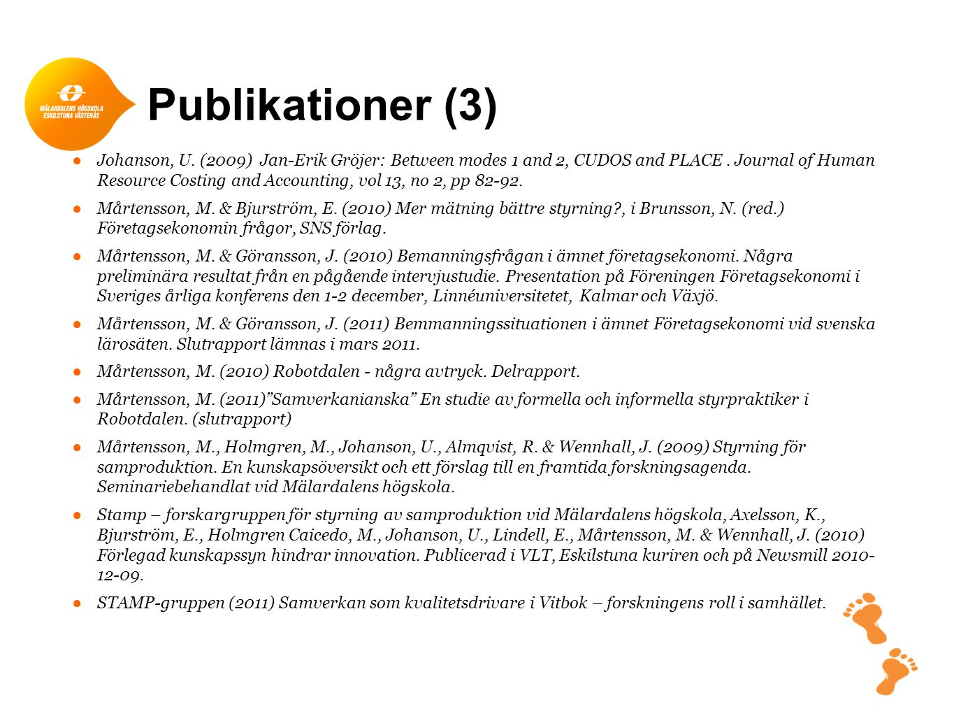 Publikationer (3) ●Johanson, U. (2009) Jan-Erik Gröjer: Between modes 1 and 2, CUDOS and PLACE. Journal of Human Resource Costing and Accounting, vol