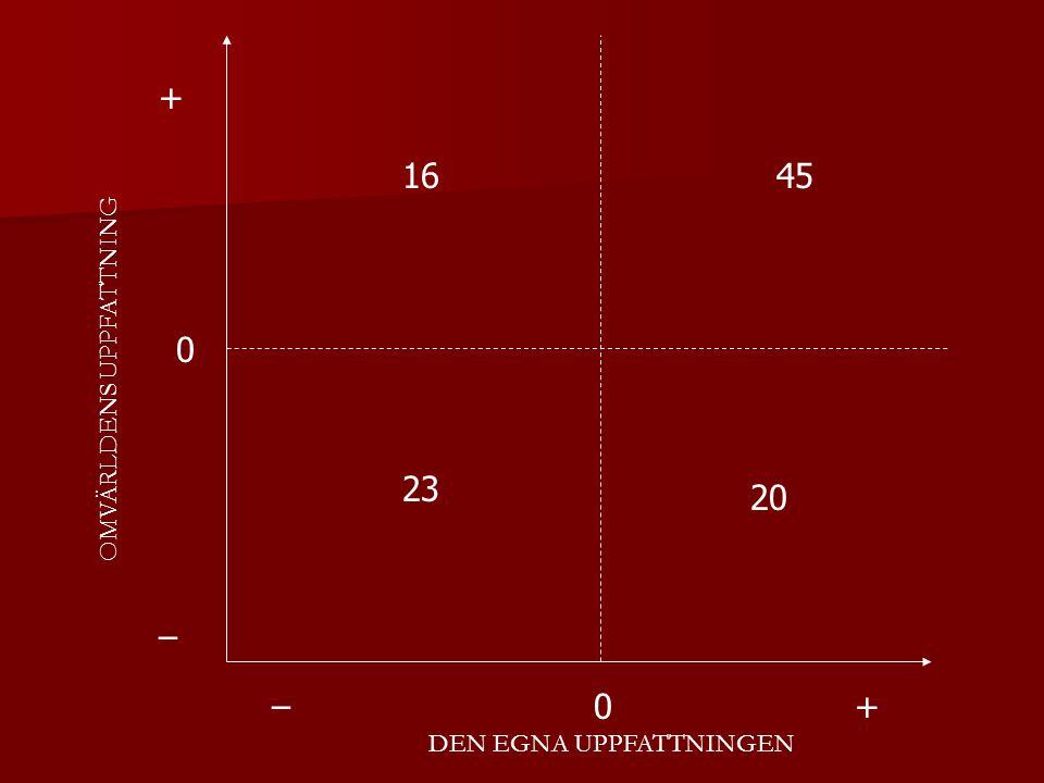 DEN EGNA UPPFATTNINGEN OMVÄRLDENS UPPFATTNING + + – – 20 23 1645 0 0