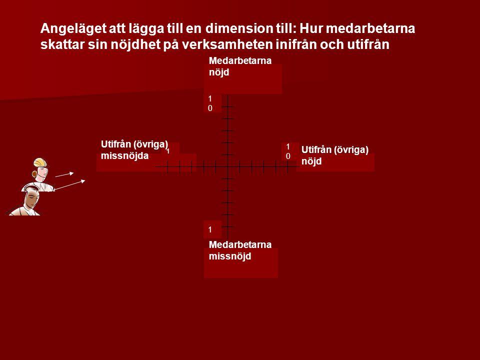 1 1 Medarbetarna missnöjd Utifrån (övriga) nöjd Utifrån (övriga) missnöjda Medarbetarna nöjd 1010 1010 Angeläget att lägga till en dimension till: Hur