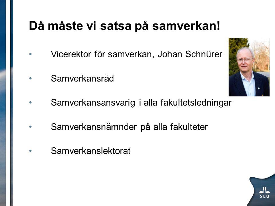 Då måste vi satsa på samverkan! Vicerektor för samverkan, Johan Schnürer Samverkansråd Samverkansansvarig i alla fakultetsledningar Samverkansnämnder