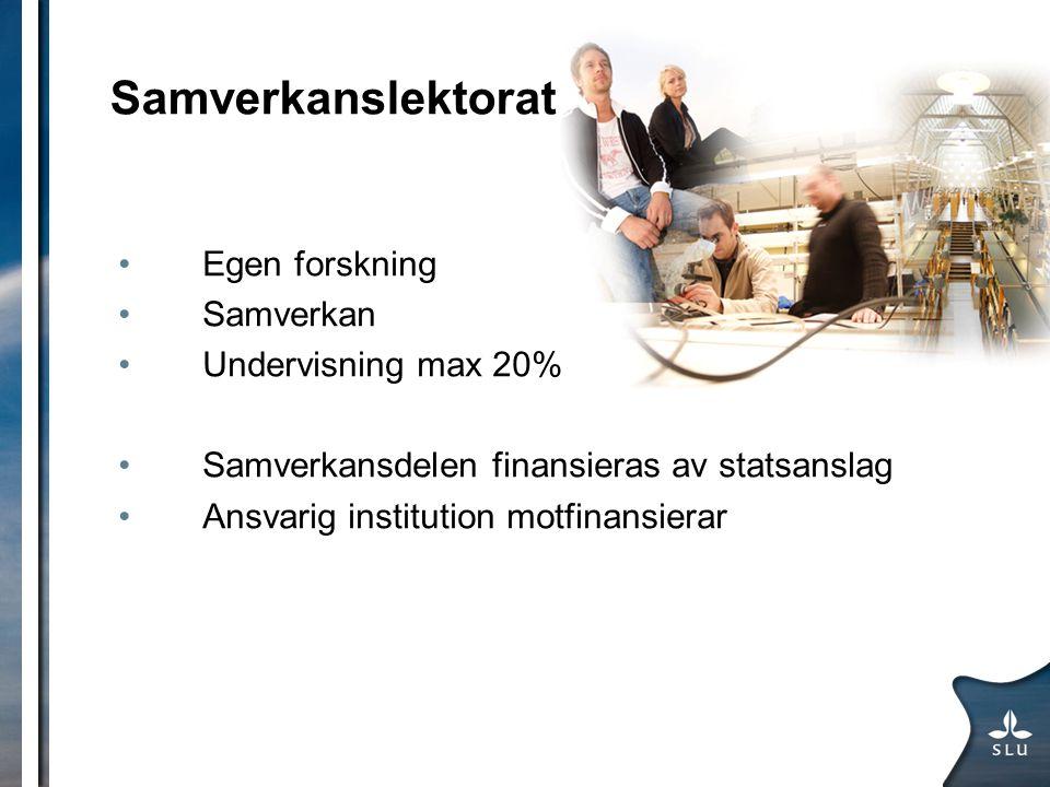Samverkanslektorat Egen forskning Samverkan Undervisning max 20% Samverkansdelen finansieras av statsanslag Ansvarig institution motfinansierar