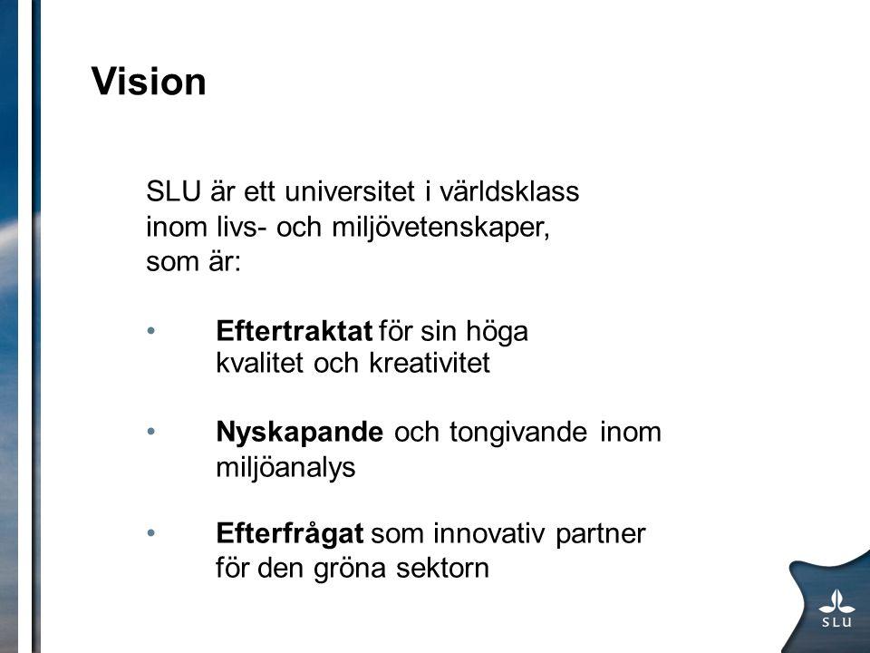 Vision SLU är ett universitet i världsklass inom livs- och miljövetenskaper, som är: Eftertraktat för sin höga kvalitet och kreativitet Nyskapande och