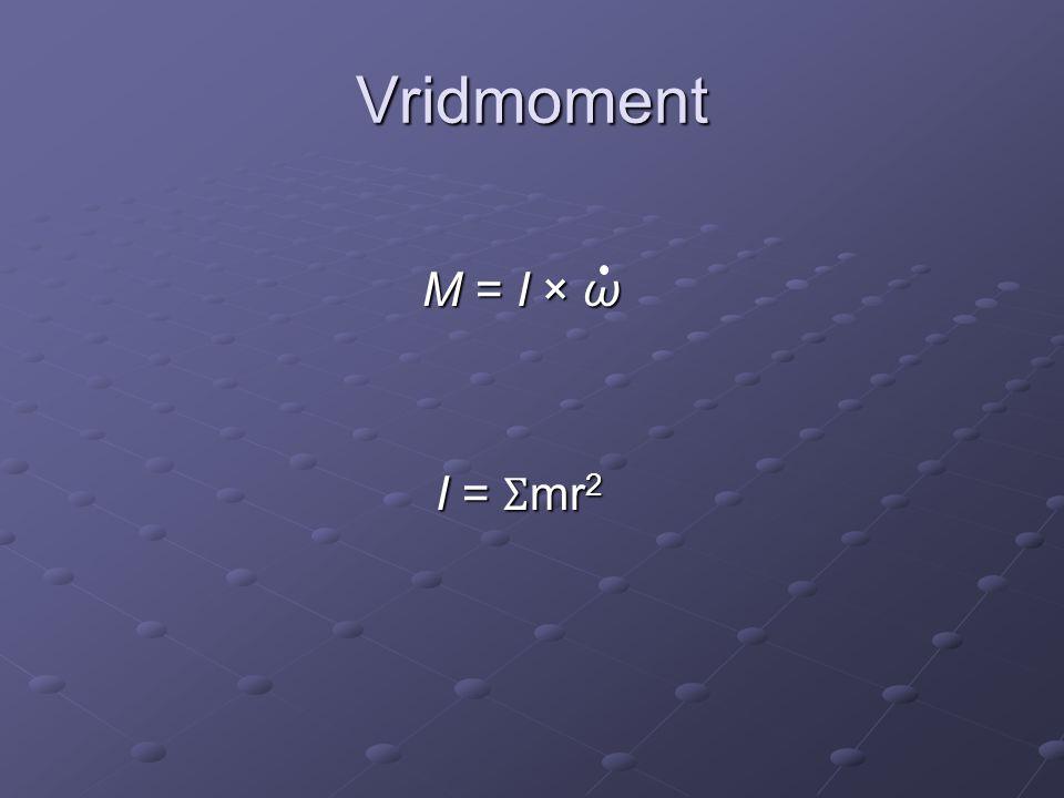 Vridmoment M = I × ω M = I × ω I = Ʃ mr 2 I = Ʃ mr 2