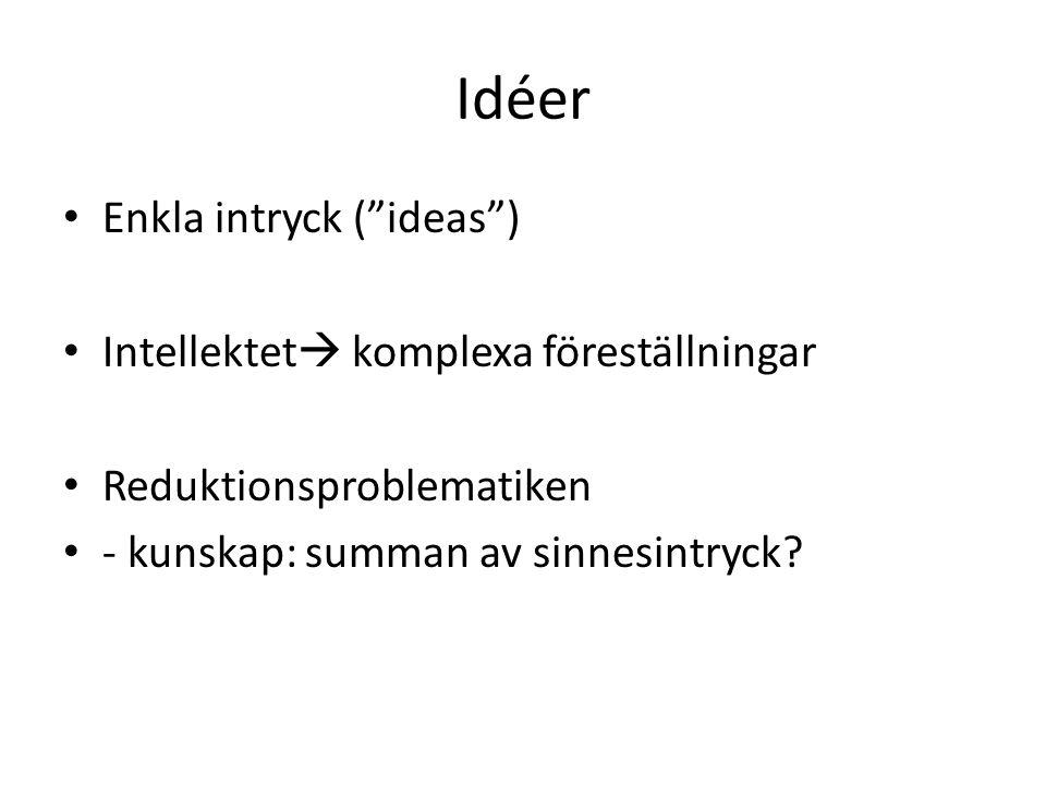 Idéer Enkla intryck ( ideas ) Intellektet  komplexa föreställningar Reduktionsproblematiken - kunskap: summan av sinnesintryck
