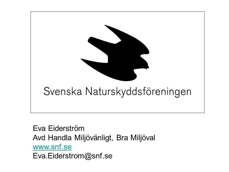 Eva Eiderström Avd Handla Miljövänligt, Bra Miljöval www.snf.se Eva.Eiderstrom@snf.se