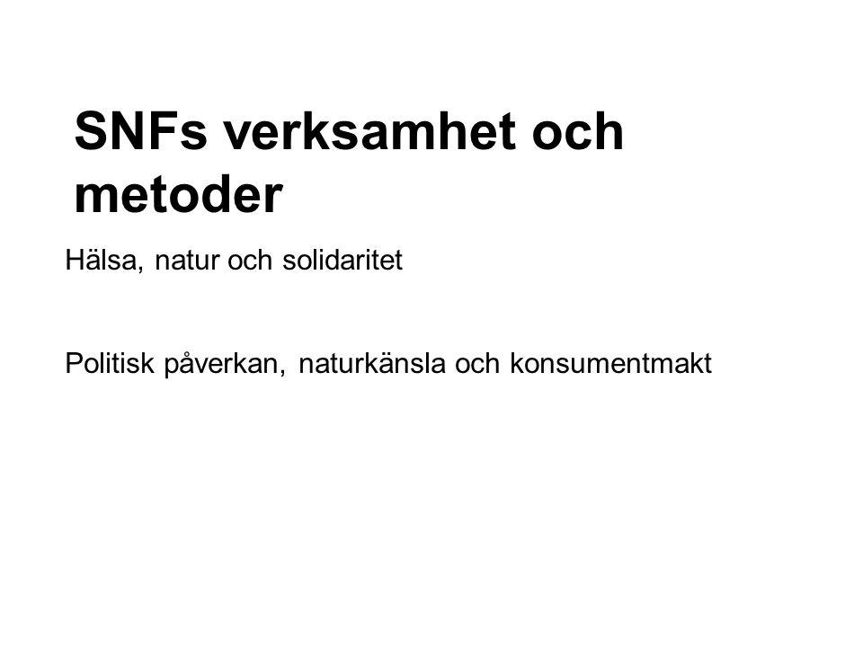 Hälsa, natur och solidaritet Politisk påverkan, naturkänsla och konsumentmakt SNFs verksamhet och metoder