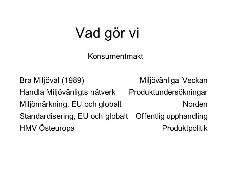 Vad gör vi Konsumentmakt Bra Miljöval (1989) Miljövänliga Veckan Handla Miljövänligts nätverkProduktundersökningar Miljömärkning, EU och globalt Norden Standardisering, EU och globalt Offentlig upphandling HMV ÖsteuropaProduktpolitik
