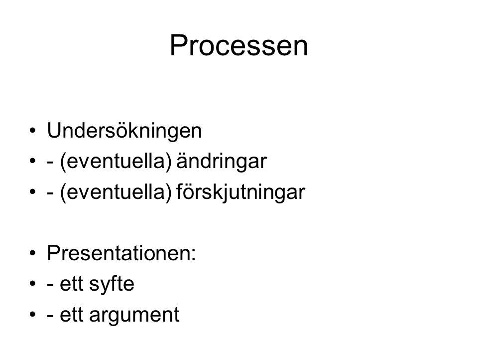 Processen Undersökningen - (eventuella) ändringar - (eventuella) förskjutningar Presentationen: - ett syfte - ett argument