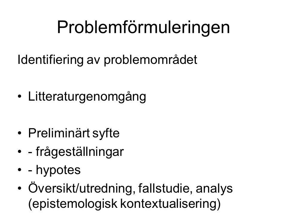 Problemförmuleringen Identifiering av problemområdet Litteraturgenomgång Preliminärt syfte - frågeställningar - hypotes Översikt/utredning, fallstudie
