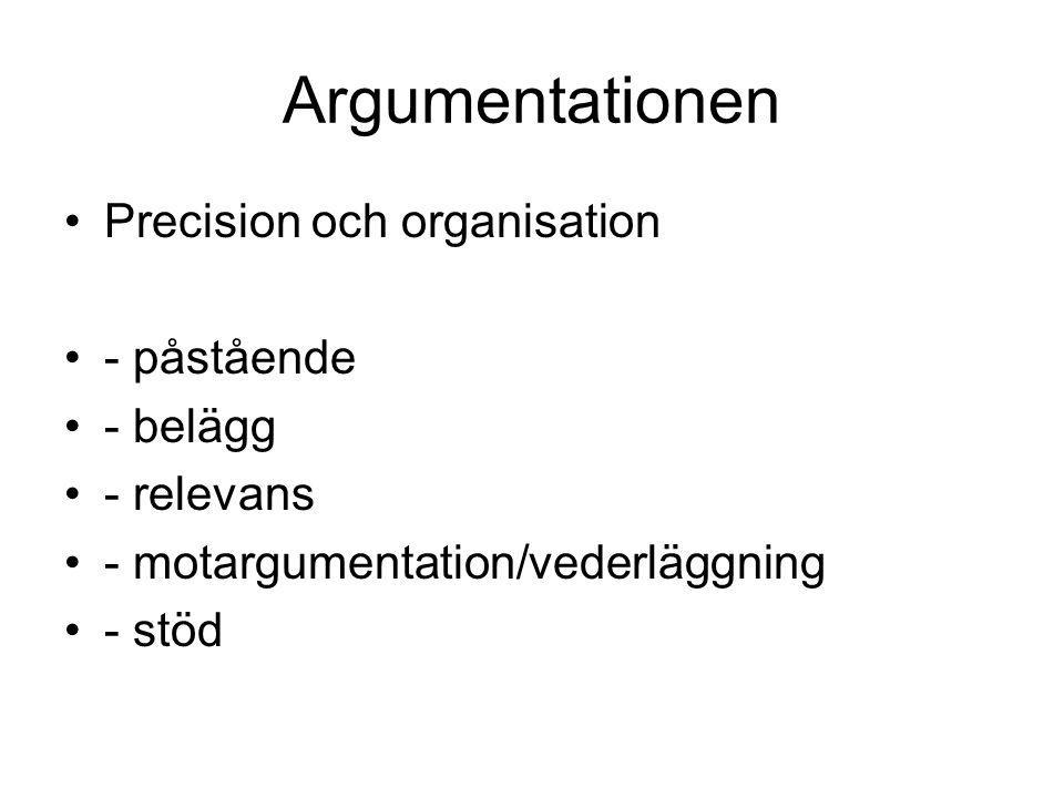 Argumentationen Precision och organisation - påstående - belägg - relevans - motargumentation/vederläggning - stöd