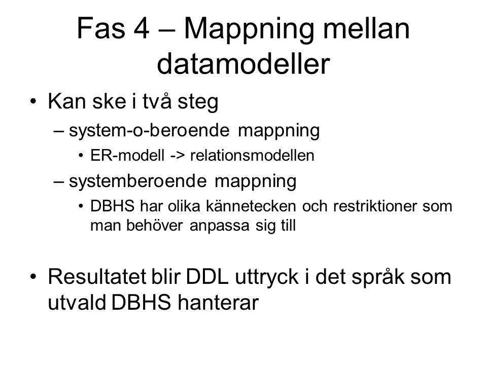 Fas 4 – Mappning mellan datamodeller Kan ske i två steg –system-o-beroende mappning ER-modell -> relationsmodellen –systemberoende mappning DBHS har olika kännetecken och restriktioner som man behöver anpassa sig till Resultatet blir DDL uttryck i det språk som utvald DBHS hanterar