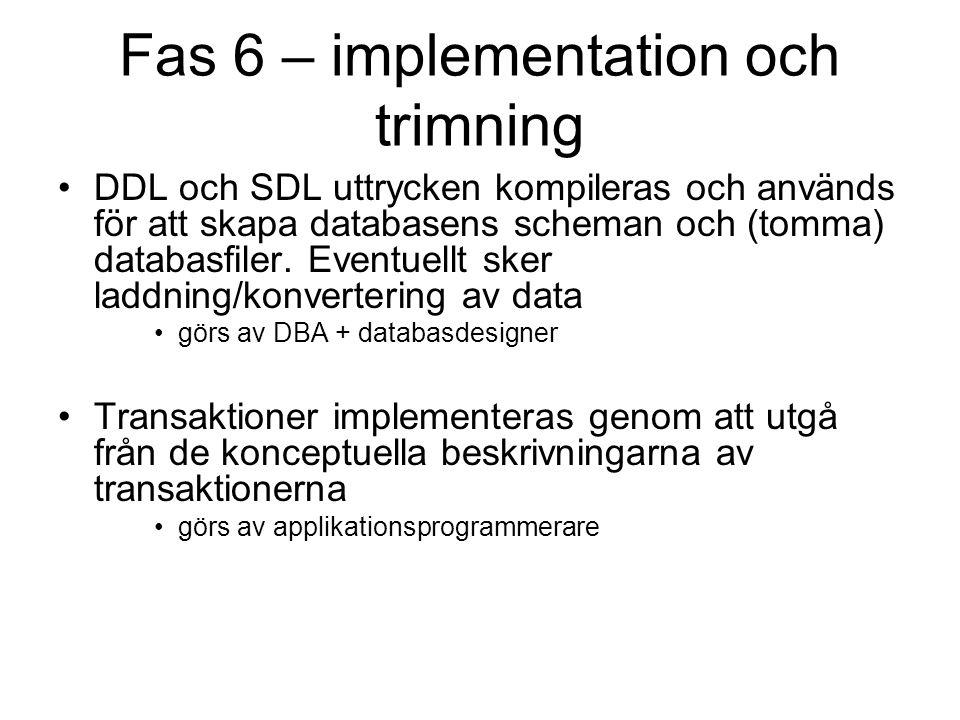 Fas 6 – implementation och trimning DDL och SDL uttrycken kompileras och används för att skapa databasens scheman och (tomma) databasfiler.
