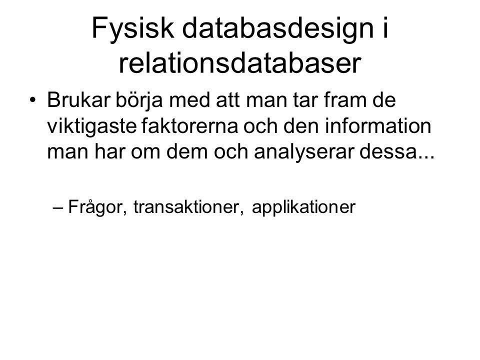 Fysisk databasdesign i relationsdatabaser Brukar börja med att man tar fram de viktigaste faktorerna och den information man har om dem och analyserar