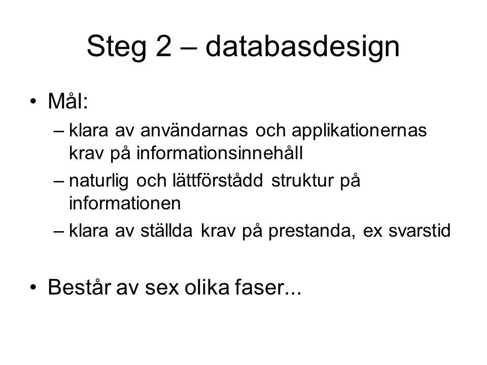 Steg 2 – databasdesign Mål: –klara av användarnas och applikationernas krav på informationsinnehåll –naturlig och lättförstådd struktur på information
